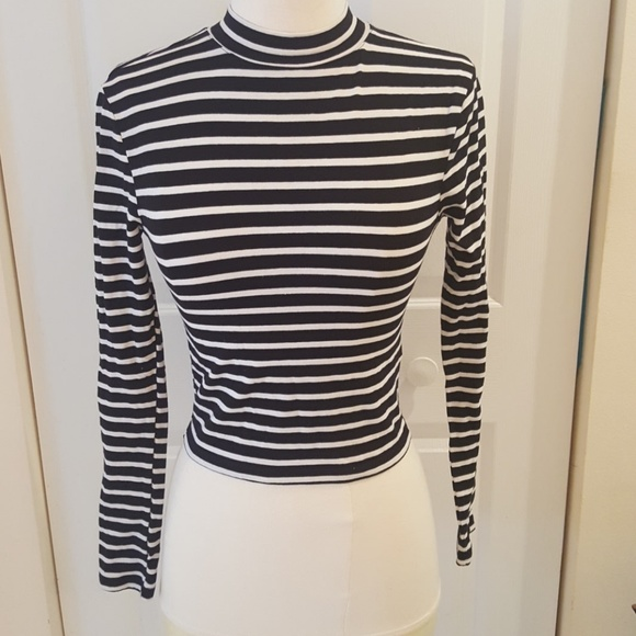 c350f5e2d1 Topshop Tops | Black And White Striped Mock Neck Top | Poshmark
